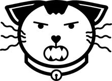 Cat angry flat icon illustration vector solid color. A set of cat flat icon illustration including cat expression and cat accessories with solid line and color Stock Images