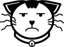 Cat upset flat icon illustration vector solid color. A set of cat flat icon illustration including cat expression and cat accessories with solid line and color Stock Photos