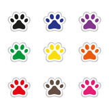 Set of cat footprints stickers Stock Images