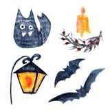 Set of cat,lamp, but and candle royalty free illustration