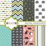 Set of cat pattern. Set of cat design elements Stock Image