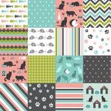 Set of cat pattern. Set of cat design elements Royalty Free Stock Image