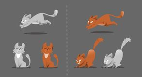 Set of cat poses. Kitten plays, jumps on a smart vacuum cleaner. stock illustration