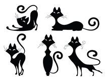 Set of cat silhouettes. Set of various black cat silhouettes. Sitting cat, lying cat, two  stretching cats and one cat with round back. Cool for Halloween Stock Photography