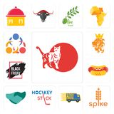 Set of cat, spike, free delivery, hockey stick, hand shaking, hot dog, black friday sale, royal lion, 3 people icons. Set Of 13 simple editable icons such as cat Royalty Free Stock Image