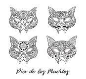 Set of cat sugar Mexican skulls. Vector illustration Royalty Free Stock Photos