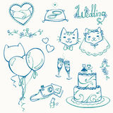 Set of cat wedding elements Stock Photo