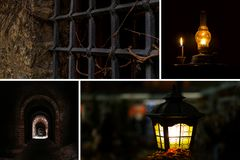 Set catacombs basement ruins castle desolation grille window tunnel kerosene lamp light fascinating adventure fear stock photography