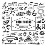 Set of catchwords, ampersands and other  elements, sketches Royalty Free Stock Images