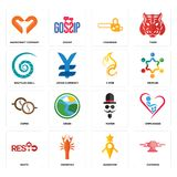 Set of catering, guidestar, resto, mister, cofee, c fire, nautilus shell, chainsaw, handicraft company icons. Set Of 16 simple  icons such as catering, guidestar Stock Photos