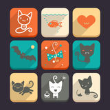 Set of cats and animal icons. Part 2 Royalty Free Stock Photos