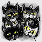 Set of cats in cartoon style Stock Photography