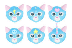 Set of cats faces in masks, watercolor illustration. Cat fighters set. Luchador or fighter mask. Hand-drawn lucha libre animal in yellow wrestling mask with Royalty Free Stock Image