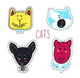 Set of cats heads. Face Vector illustration Stock Images