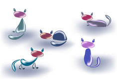 Set of cats made of glass or stone. EPS10 vector illustration Stock Photo