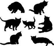 Set of cats silhouettes Royalty Free Stock Image