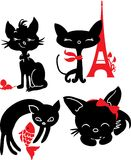 Set of cats silhouettes Stock Image