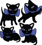 Set of cats silhouettes cartoon Royalty Free Stock Images