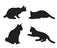 Set of cats Silhouettes isolated. On a white background Royalty Free Stock Image