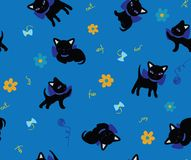 Set of cats silhouettes seamless background Royalty Free Stock Photo