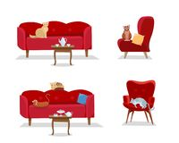 Set - 5 cats sit on red comfortable sofas and soft designer armchairs on white background. Cat is sitting and lying. Furniture,. Attached table with coffee cups stock illustration