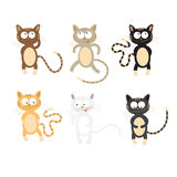 Set with cats. Set with six cute cartoon cats of different coloring Royalty Free Stock Photo