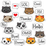 Set of cats with speech bubbles Stock Photo