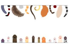 Set of  cats tails and paws. Each in a row, on white vector illustration