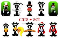 Set of cats. vector.  Royalty Free Stock Photos