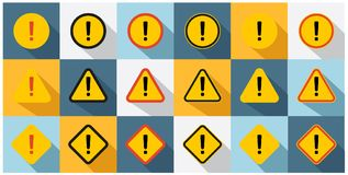 Set of caution icons. Stock Photo