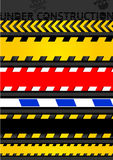 Set caution tapes, seamless strip. Stock Image