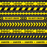 Set of caution tapes. Vector illustration Stock Image