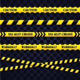 Set of caution tapes. Vector illustration. Royalty Free Stock Photo