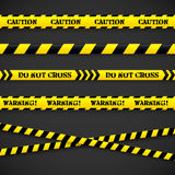 Set of caution tapes. Vector illustration. Stock Photography