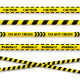 Set of caution tapes. Vector illustration. Stock Photos