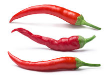 Set of cayenne peppers, paths Royalty Free Stock Photography
