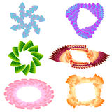 Set of ceiling emblems of petals in a spiral Royalty Free Stock Image