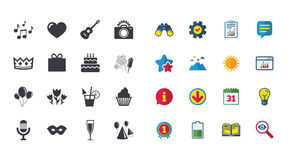 Set of Celebration, Birthday and Party icons. Fireworks, Air balloon and Champagne glass signs. Gift box, Cake and Photo camera symbols. Music and cocktails Stock Photography