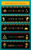 Set of 5 celebration cinco de mayo web banner vector illustration