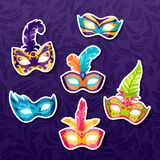 Set of celebration festival carnival masks. Stickers Royalty Free Stock Image