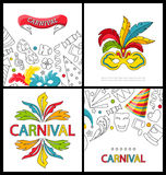 Set Celebration Festive Banners for Happy Carnival. Illustration Set Celebration Festive Banners for Happy Carnival with Party Colorful Icons and Objects Royalty Free Stock Photo