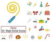 Set of 24 Celebration Icons. Flat color design. Vector illustration Stock Images