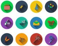 Set of celebration icons Royalty Free Stock Photo