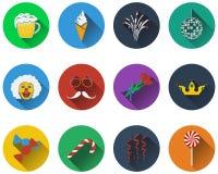 Set of celebration icons Stock Images