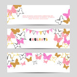 Set of celebration party banners with pink butterflies. Stock Photo