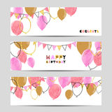 Set of celebration party banners with pink and golden balloons. Royalty Free Stock Photo