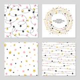 Set of celebration patterns with stars. vector illustration