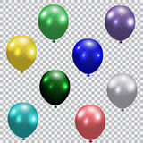Set of celebratory balloons. Realistic, semi-transparent, colorful. Checkered background. illustration Stock Photography