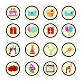 Set of celebratory icons, symbols. Stock Image
