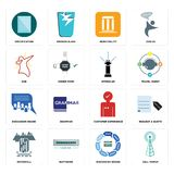 Set of cell tower, discussion board, waterfall, customer experience, sprinkler, dab, municipality, specification icons. Set Of 16 simple editable icons such as Stock Photos